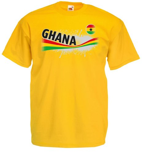 world-of-shirt Herren T-Shirt Ghana Vintage Trikot|gelb S