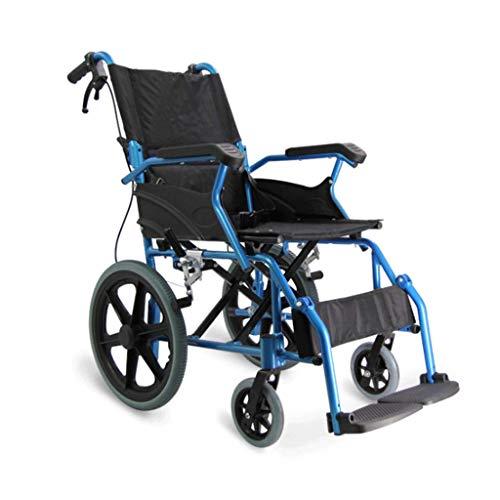 LUNYI Ultraleichter Aluminiumlegierungs-Rollstuhl Für Ältere Menschen, Behinderter Wanderer Tragbares Faltendes Festes Kleines Rad