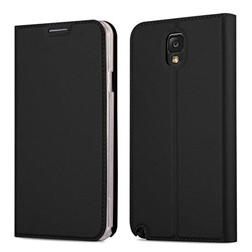 Cadorabo Hülle für Samsung Galaxy Note 3 - Hülle in SCHWARZ - Handyhülle mit Standfunktion & Kartenfach im Metallic Erscheinungsbild - Case Cover Schutzhülle Etui Tasche Book Klapp Style