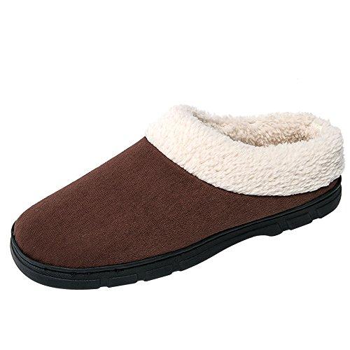 Nasonberg Uomini Morbido Caldo Casa scarpe Inverno Interne Cotone Peluche Pattini Brown