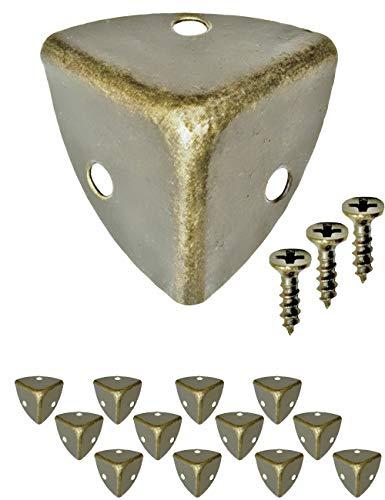 FUXXER - 12x Antike Möbel-Ecken, abgerundet, Schutz-Ecken, Metall-Beschläge für Kisten Boxen Möbel Regal Tisch, Kanten-Schutz, Vintage Messing Antik Optik, 12er Set, inklusive Schrauben