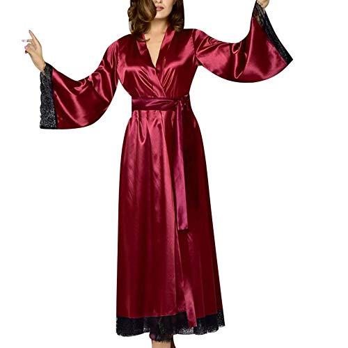 YCQUE Frauen Sexy Lange Seide Langen Abschnitt Kimono Morgenmantel Bademantel Babydoll Dessous Nachthemd Splice Liebsten (Weinrot, L3) -