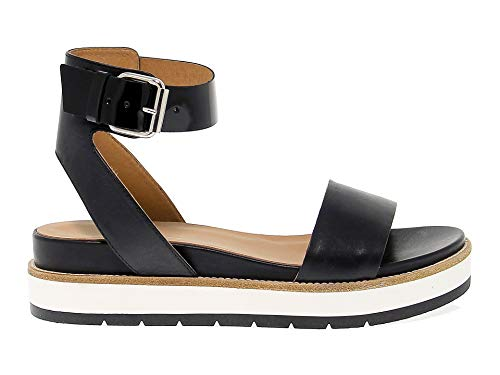 JANET SPORT Women's Jspo41800 Black Leather Sandals