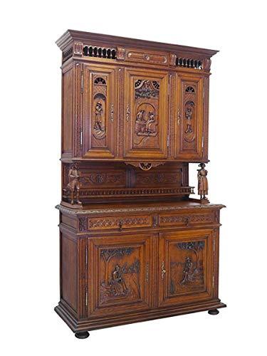 Buffet Schrank Küchenschrank Antik um 1880 bretonisch aus Eiche B: 142cm (8342)