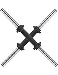 """MultiWare Chrome Dumbbell Bars 18"""" With Spinlock Collars Weight Lifting Bar 1"""" Set"""