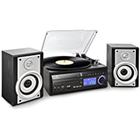 auna DS-2 USB Turntable Record Player MP3 Convertor Hifi Stereo System (SD USB Inputs, CD Player & FM Radio) - Black - ukpricecomparsion.eu