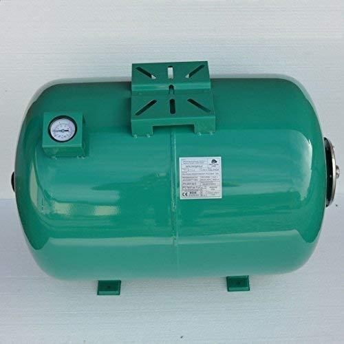 Powermat Druckkessel 100 Liter Ausdehnungsgefäß Membrankessel m. Manometer (Grün, 100 Liter)