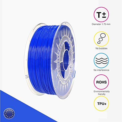 EOLAS Filamento flexible 3D 100% TPU+ 1.75mm, Made in Spain, Food safe, Toys safe Certified (Azul, 250 gr)