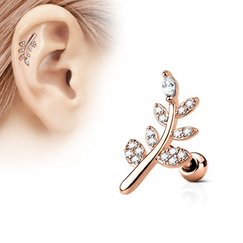 ~ Gift Boxed ~ Rose Gold Cartilage Tragus Helix Barbell earring Fern Flower with Cz gems. 9naIc