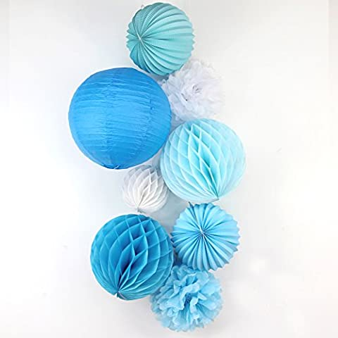 SUNBEAUTY 8er Set Tissue Papier Blume Pompom & Honeycomb Wabenball & Lampion Rosa Blau Serie Mixed Hochzeit Geburtstag Babyparty Dekoration