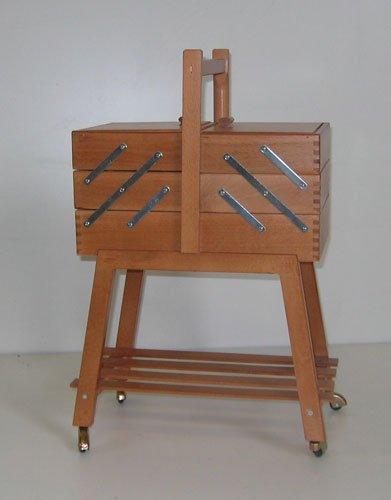 Korb Nähkasten aus Holz Farbe Walnuss–-Arbeit Nähen zu A 3Pläne auf Rollen (Nussbaum Körbe)