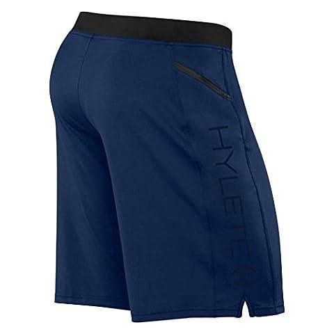 HYLETE Men's Vertex Zip Pocket Shorts Flex-Knit Stealth Navy - Medium/Above Knee