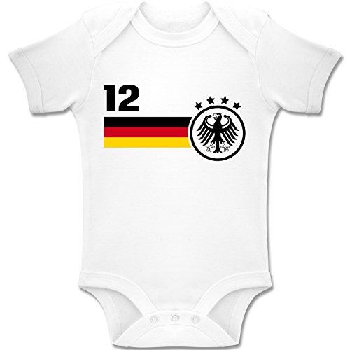 Shirtracer Fußball-Europameisterschaft 2020 - Baby - 12. Mann Deutschland Mannschaft WM - 6-12 Monate - Weiß - BZ10 - Baby Body Kurzarm Jungen Mädchen (Geschenke Besten Am 4-jährigen Jungen)