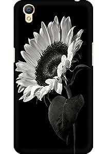 AMEZ designer printed 3d premium high quality back case cover for Oppo A37 (Black White Sunflower)