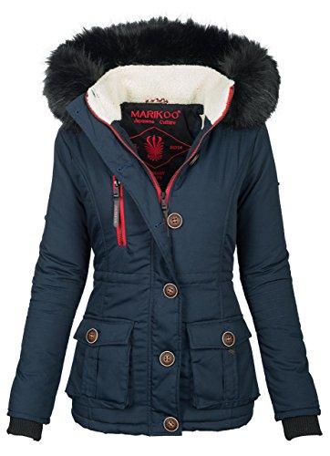 Marikoo Damen Winter Jacke Parka Winterjacke Teddyfell gefüttert B384 [B384-Rosewater-Blau-Gr.XL]