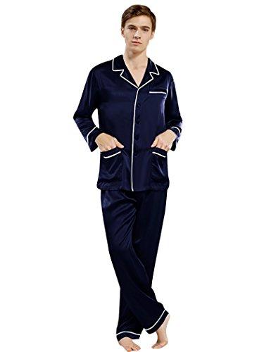 ELLESILK Herren Schlafanzug 100% 22 Momme Maulbeerseide, Zweiteilig Pyjama Lange Ärmel Navyblau/Weiß