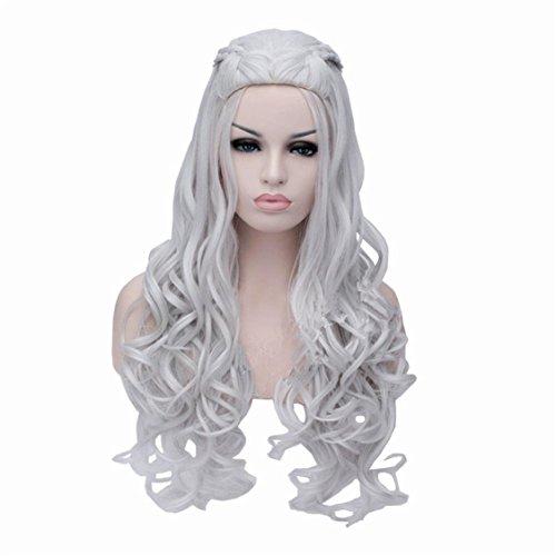 Mode Européen Et Américain Argent Blanc Simple Jeu De Rôle De Vent Long Curly Haute Qualité Perruque Résistante À La Chaleur