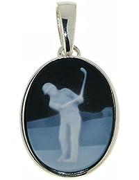 Derby Anhänger Gemme Achat Golfspieler 16 x 12 mm Kamee Sterling-Silber 925 - 23482