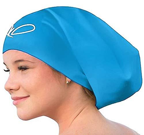 Badekappe für lange Haare - Bademütze für Damen Herren - Extra große Schwimmkappe - Hochwertige, Wasserdichte Silikon Schwimmmützen - für Dreadlocks und Afro - Ihre Haare bleiben trocken (Aqua Blue L)