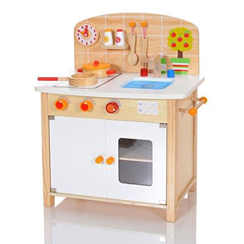 LCP Kids Kinder Spielküche Buchenholz massiv Spielzeugküche MIRA 8 teiligen Zubehoerset
