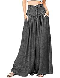 Legendaryman Femmes Casual Lâche Jambe Large Long Pants de Plage Fashion Taille  Haute Pantalon Jeans 5c5cff5b00d2