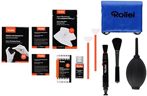 Rollei RE FRESH Kit Vollformat - 68 teilges multifunktionales Reinigungsset für Kameras mit Vollformat Sensoren, Objektive und Filter, inkl. Blasebalg, Sensorreinigungsflüssigkeit und Tasche Kamera-kit