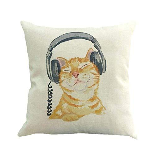 Indexp Cute Cat Pattern Impression Festival Throw Cushion Cover Sofa Home Decoration Pillow case 45x45cm