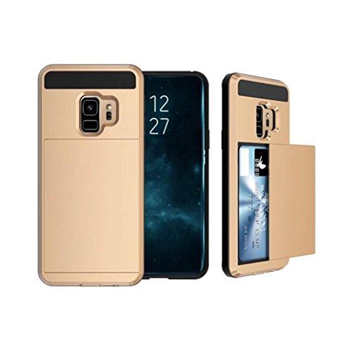Prevently Für Samsung Galaxy S9 5,8 Zoll Telefonkasten Handy-Halterung Karte Brieftasche Slot Hybrid Hard Slim Telefon Fall Abdeckung - Eine Richtung Fällen Samsung