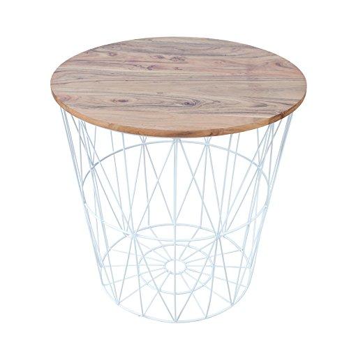 Riess Ambiente Design Couchtisch Beistelltisch Storage 52cm weiß Metall Korb mit Deckel aus Akazie Sofatisch mit Akazienholz Drahtkorb Ablage Aufbewahrungskorb