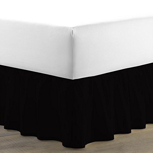 BED ALTER 1000 Thread Count Luxurious Dust Ruffle Bed Skirt 100% Egyptian Cotton 27 Inch Drop Solid (Black, Twin) (Available in All Sizes and 29 Colors)