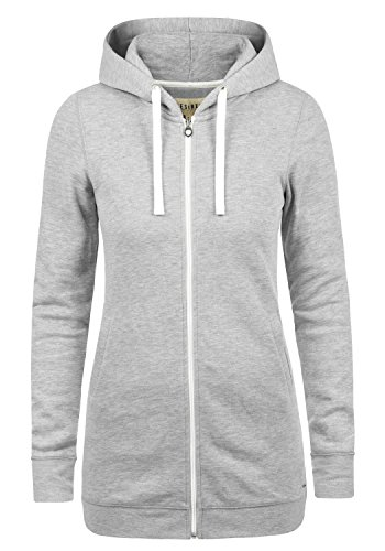 DESIRES Derby Long Damen Lange Sweatjacke Kapuzenjacke Sweatshirtjacke Mit Kapuze Und Fleece-Innenseite, Größe:XL, Farbe:Light Grey Melange (8242)