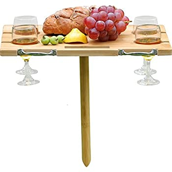 INNO STAGE Portable and Foldable Wine and Snack Table for Picnic Outdoor on The Beach Park or Indoor Bed for 4 glasses