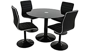 Table + 4 chaises Laqué Noir ANISTON