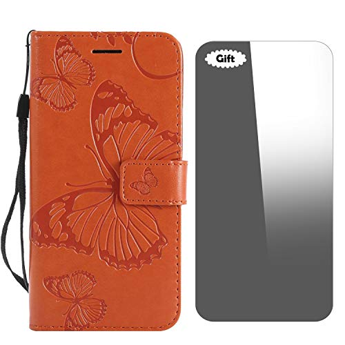 iPhone 5 / 5s / SE Hülle, Conber Lederhülle Handyhülle mit [Frei Schutzfolie], PU Tasche Leder Flip Case Cover Emboss 3D Schmetterling Schutzhülle für Apple iPhone 5/5s/SE - Orange