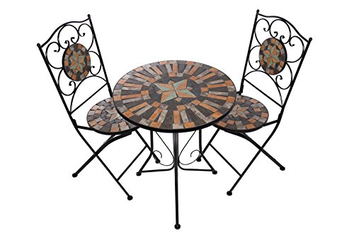 Hochwertiges aufwendig gearbeitetes Mosaik Tisch Set, NA1514-B041+42 stabiles Gartenmöbel Set, Balkonset, Bistroset, Schweres beschichtetes Metall, Wetterfest, Tisch und 2 Stühle