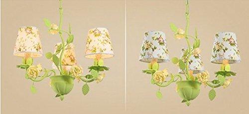 Gowe 5Arme Kronleuchter Schmiedeeisen Kronleuchter Creative Blumen grün für Kinder Home Beleuchtung Eisen Kronleuchter Creative Lampenschirm Farbe: Schwarz - Fünf Arm Schmiedeeisen Kronleuchter