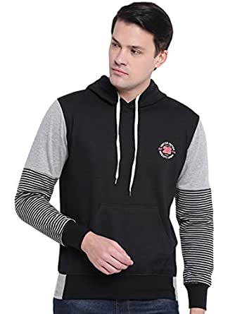 GHPC Black Plain Solid Sweatshirt Jacket Full Sleeves Slim Fit Hoodies for Men (TS914002_S)