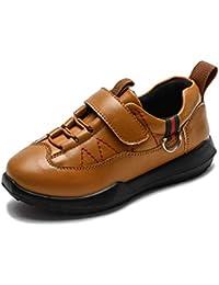 42df61d38 Zapatillas de Deporte de Cuero Impermeables para niños con Velcro Niños  Zapatos de Ocio Escolar Mocasines