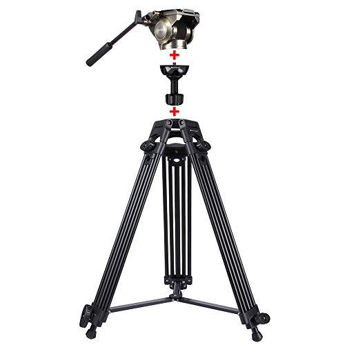 YAOkxin Heavy Duty Video Camcorder Aluminum Alloy Tripod Mount Kit für DSLR/Spiegelreflexkamera, 3 in 1 (Tripod + Bowl Adapter + Black Fluid Drag Head) Adjustable Höhe: 62-152cm,Gold