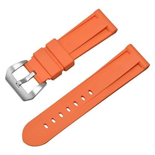Silikon 24mm Orange Uhrenarmbänder Wristgummiuhrenarmband-Armband mit Edelstahl-Schnalle - Watch Bands Invicta Silikon
