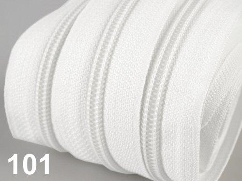 5m Reisverschluß endlos mit + 15 Zipper Metall lackiert Kunstofflaufschiene Spirale 4mm, 25mm Gesamtbreite 100% Polyester #101 II.Wahl leichte Verschmutzung u.Fehler