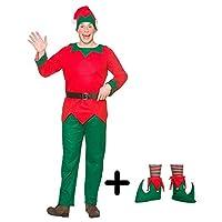 A2ZFD Mens Christmas Elf Costume + Elf Boots (Shoecovers) Fancy Dress (Mens - Plus Size)
