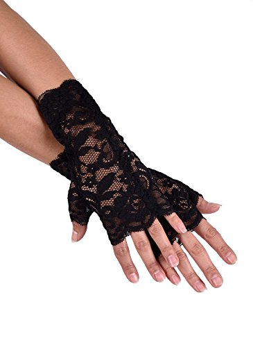 jowiha® Kurze Handstulpen aus Spitze Schwarz ()