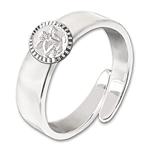 Clever Schmuck Silberner verstellbarer Mädchen Ring glänzend Engel klassisch runde Form seidenmatt mit Rand glänzend diamantiert STERLING SILBER 925