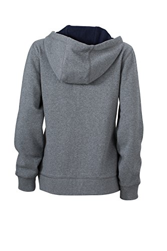 James & Nicholson Damen Lifestyle Zip-Hoody Sweatshirt Grau (Grey-Melange/Navy)