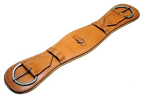 A&M Reitsport Western Sattelgurt aus Leder für baumloser Sattel, Western Sattel Gurt Beige, Größe:80 cm -