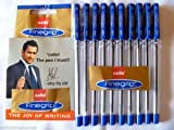 10 X Cello Fine Grip Non-stop Writing Ball Point Pen BLUE Ink Writing Ballpoint Pen # Brand Ad By Indian Cricketer Mahindera Singh Dhoni by Cello