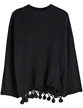 Vogueearth Fashion Hot Mujer's Ladies 3/4 Manga PomPom Knit Jumper Jersey Sudaderas Suéter Pull-over Pullover...