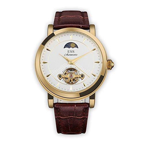 ESS Herren Selbstaufzug mechanisch Uhr Automatik Uhren golden Gehäuse