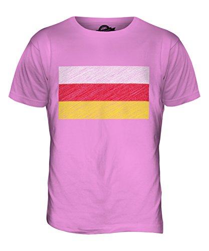 CandyMix Nordossetien-Alanien Kritzelte Flagge Herren T Shirt Rosa